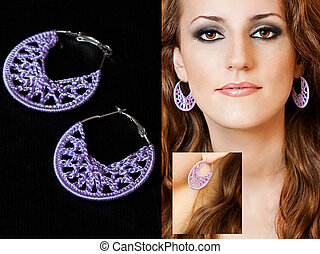 earings - close up picture of redhead beauty wearing earings...