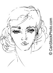 sketch to the portrait of beautiful woman person - a sketch...