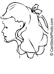 sketch is a beautiful profile of woman face