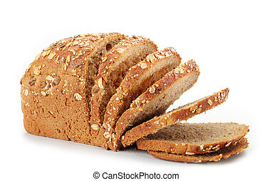 natural whole grain bread on white background