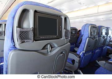 LCD monitor on Seat of airplane - LCD monitor on Passenger...