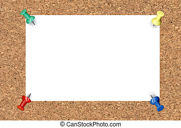 Blank note paper on cork board background
