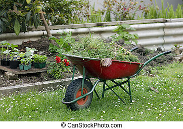Home gardening  - Wheelbarrow in a garden.
