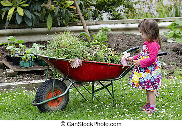 Home gardening - Little girl play with mouse doll and and...