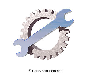 wrench gear logo - wrench and gear logo on white background...