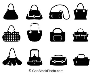 bags silhouettes - isolated black bags silhouettes from...