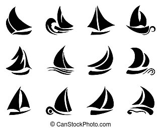 sailboat symbol - the design of black sailboat symbol on...