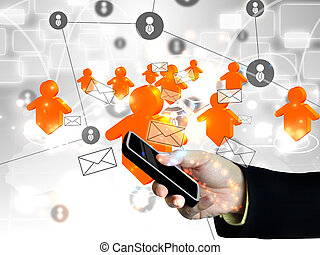 Businessman holding social network on smart phone Technology...