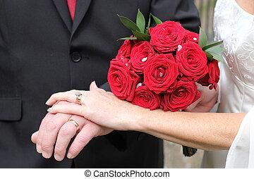 recién casados, tenencia, Manos