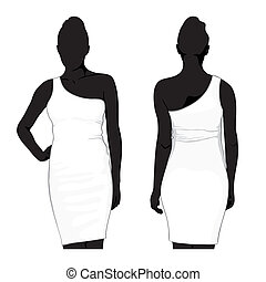 template dress - vector template dress on white