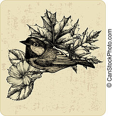 Vector illustration of the bird titmouse, leaves and wild rose.