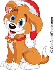 Christmas dog - Christmas dog with Santa%u2019s hat