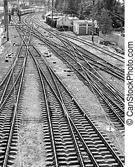 railroad tracks - The panorama of railroad tracks. Top view....