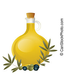 olive oil - an illustration of a glass jug of olive oil with...