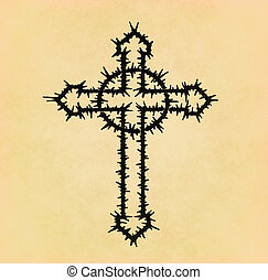 Barbed wire christian cross on old paper