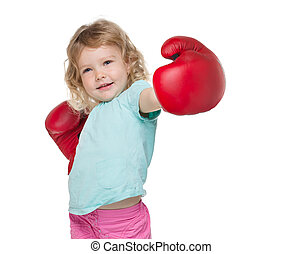 Boxing girl - Little girl with red boxing gloves