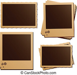Retro photo frame isolated set - Retro photo frames on white...