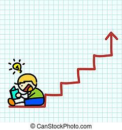 Business hand writing cartoon . vector