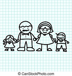 Family hand writing cartoon Illustration