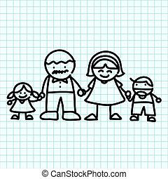 Family  hand writing cartoon . Illustration