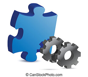 puzzle piece and gear