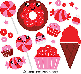 Cute strawberry candy set - red and pink - Sweet strawberry...