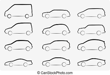 Cars - Abstract vector illustration of various car...