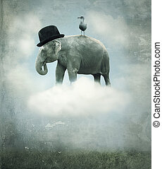 Fantasy elephant flying - Fantasy surrealistic background...