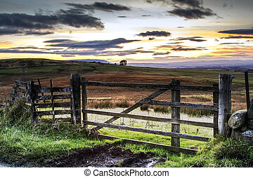 Gate to a beautiful landscape - Pretty landscape of a sunset...
