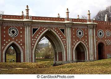 Tsaritsyno, Moscow - Large stone bridge in Tsaritsyno,...