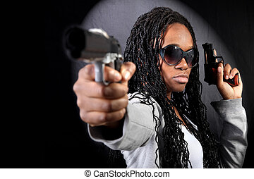 fresco, Afro, norteamericano, gángster