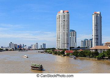 Riverside Skyscraper Buildings in Bangkok, Thailand.
