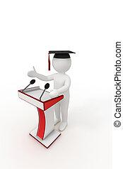 3d graduate giving a speech