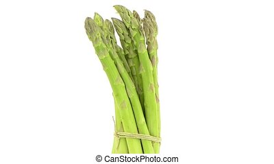 Fresh green asparagus - Rotating fresh green asparagus...