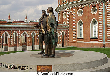 Tsaritsyno, Moscow - Monument to Vasily Bazhenov and Matvei...