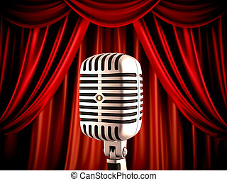 Microphone on stage - Retro microphone on stage, shallow...