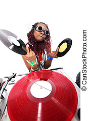 afro-american cool DJ isolated on white