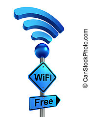 wifi blue road sign and symbol on metal pole. clipping path...
