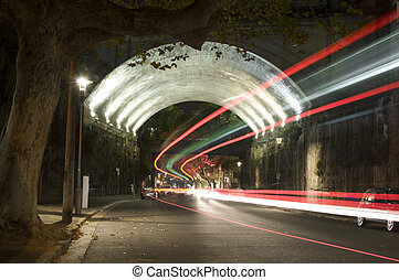 Tunnel with Trail Lights