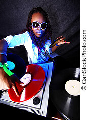 fresco, afro, americano, DJ, ação