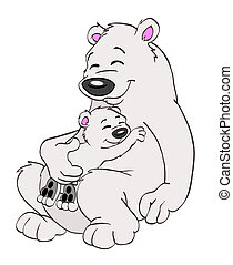 Polar Bear Family - Hand drawn cartoon momma and baby polar...