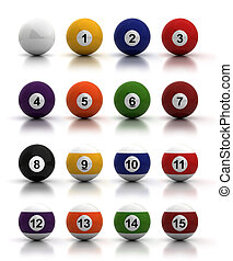 Billiard Balls - Billiard balls on white background...