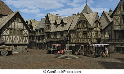 Medieval Town Square - Medieval or fantasy town square and...