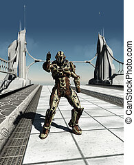 Space Marine Trooper on the Bridge - Futuristic space marine...
