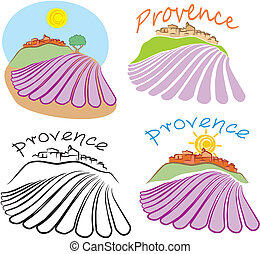 provence - historical land - provencal emblem -a village on...