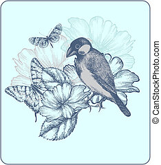 Vector illustration of a bird, blooming roses and butterflies.