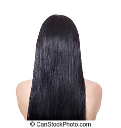 Woman with long straight brown hair - Woman with long...