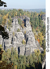 Bizarre rocks world in the Saxon Switzerland in Saxony,...