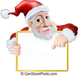 Happy cartoon Santa holding sign