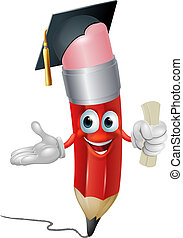 Pencil graduate education concept - An illustration of a...
